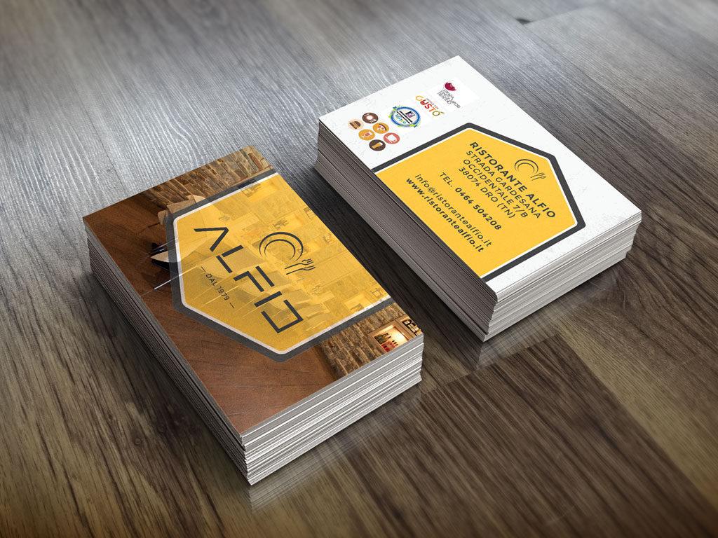 biglietti da visita banner pubblicitari ristorante pizzeria alfio Dro giaco studio