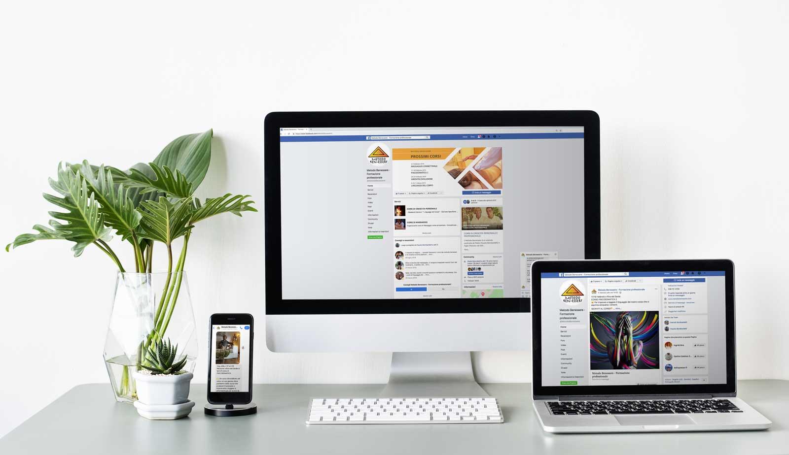 social marketing metodo benessere pagina facebook responsive