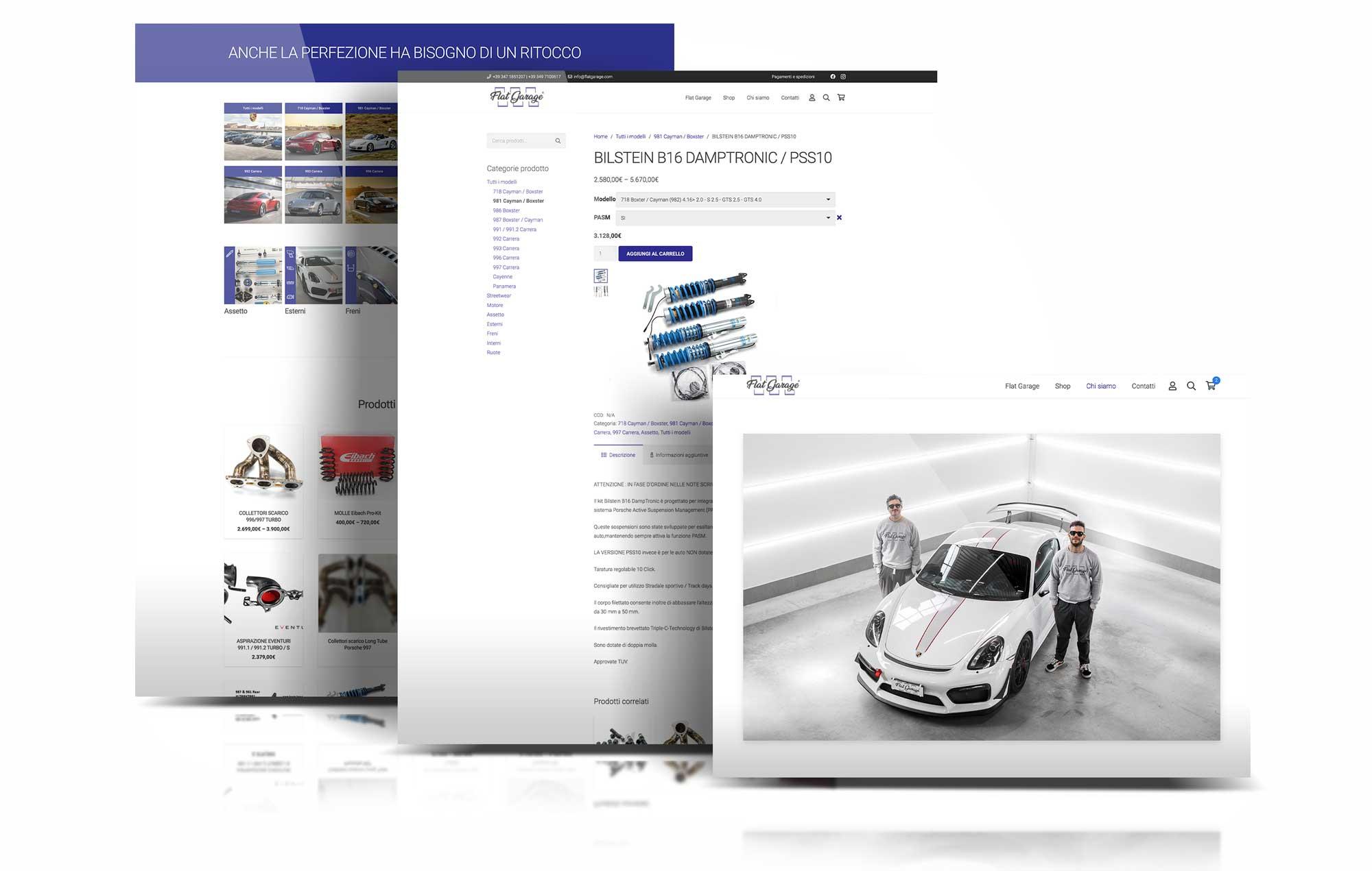 Flat garage Sito web Showcase Giaco studio